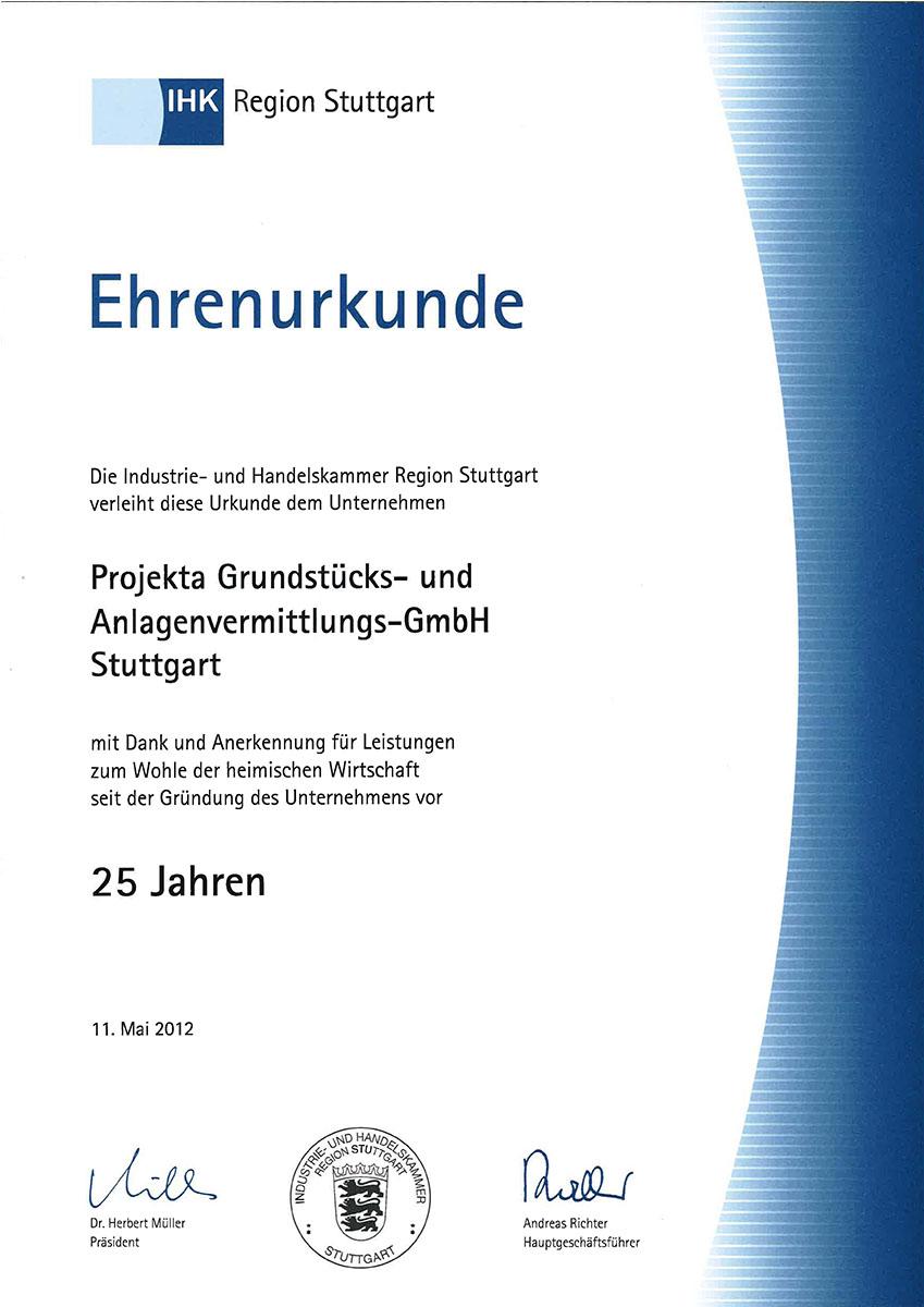 Ehrenurkunde IHK 25 Jahre
